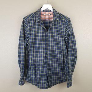Ben Sherman Gingham Plaid Shirt Blue Green Large